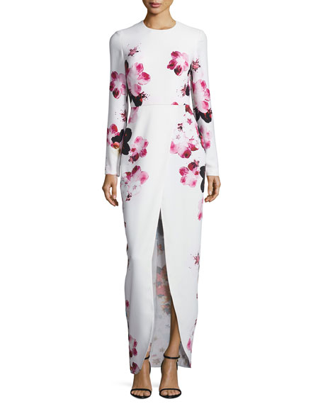 Elie Saab Floral Long-Sleeve Front-Slit Gown, Multi