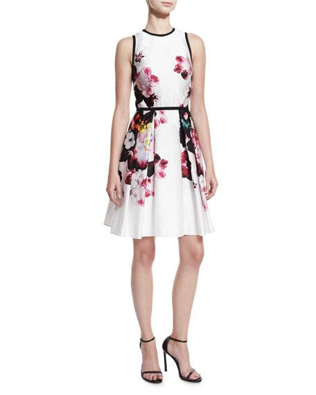 Floral Sleeveless Fit-&-Flare Dress, Multi Print