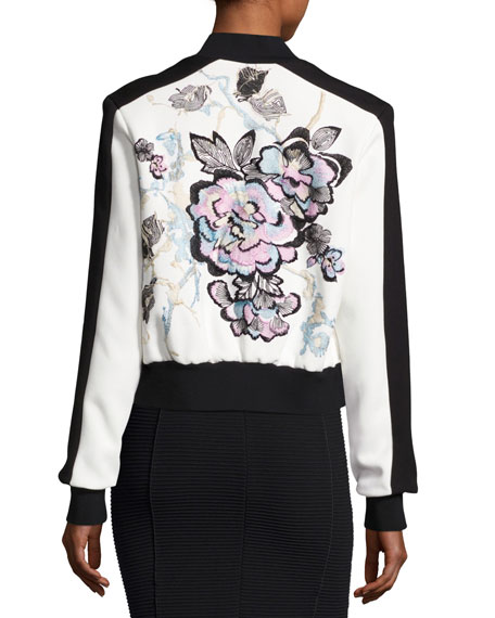 Embroidered Bicolor Bomber Jacket, Multicolor