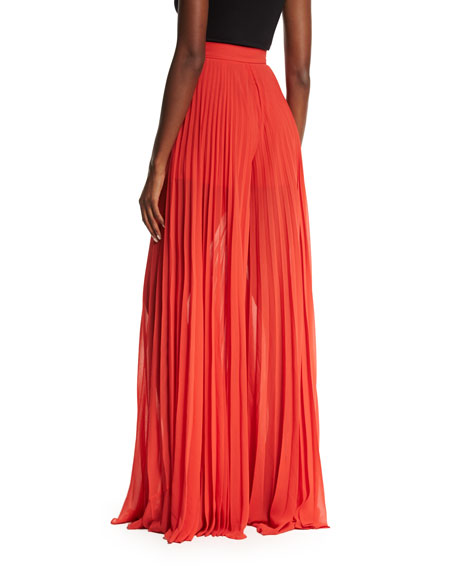 Pleated Fluid Wide-Leg Pants, Tangerine