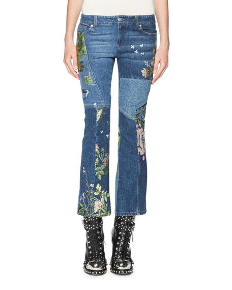 Alexander McQueen Floral-Embroidered Kick Crop Jeans, Light Blue