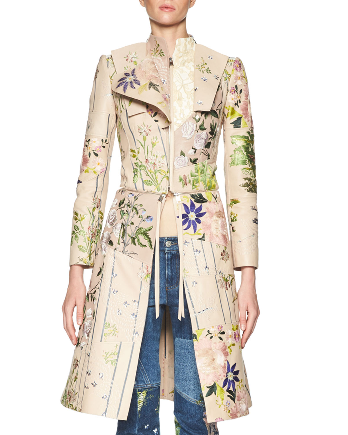 78386c1f8f5 Alexander McQueen Floral-Embroidered Leather Zip Jacket