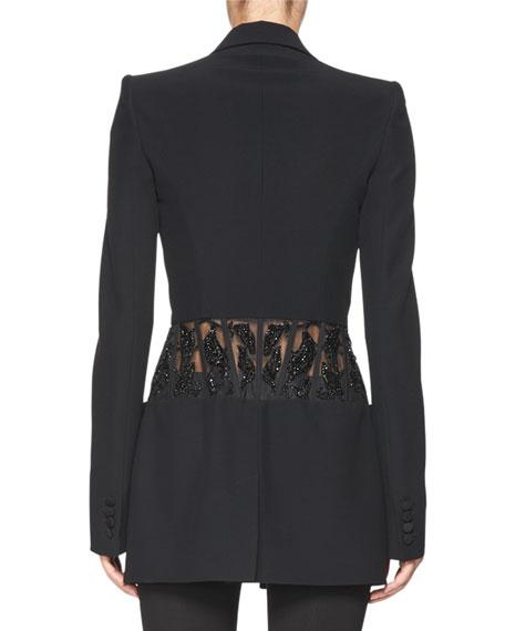 Beaded-Waist Long Blazer, Black
