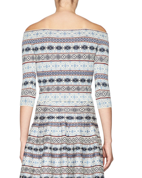 Fair Isle Off-the-Shoulder Crop Top, Multi