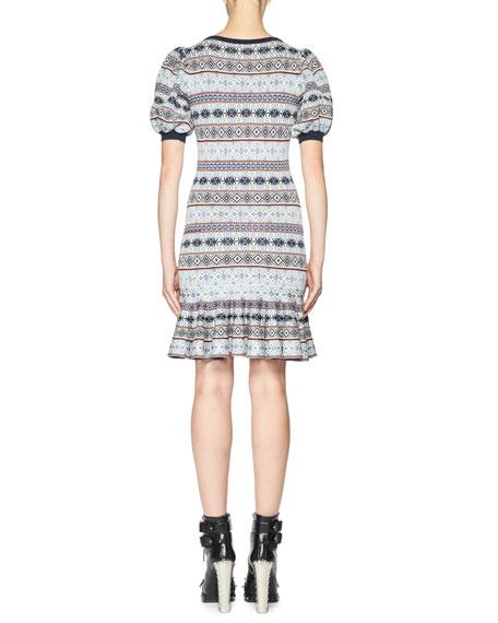 Fair Isle Puffy-Sleeve Flounce Dress, Multi