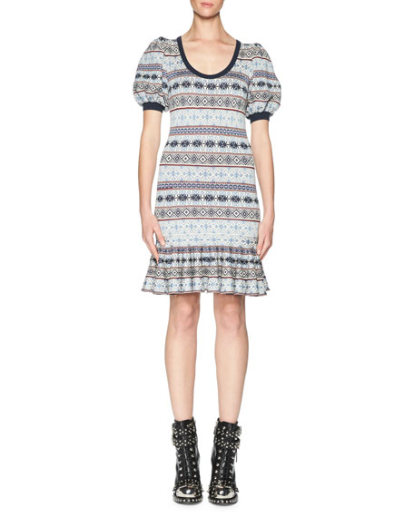 Alexander McQueen Fair Isle Puffy-Sleeve Flounce Dress, Multi