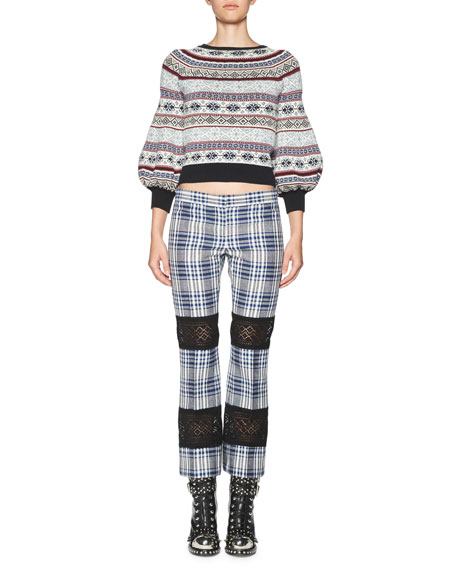 Celtic-Check Lace-Inset Kick Crop Pants, Multi