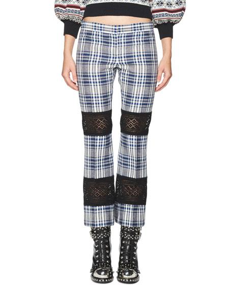 Alexander McQueen Celtic-Check Lace-Inset Kick Crop Pants, Multi