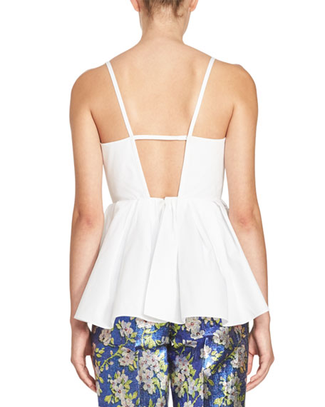 Triple-Bow Peplum Tank, White