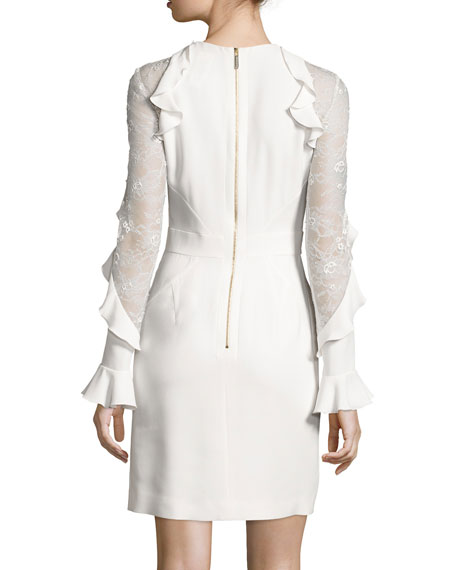 Ruffled Lace-Inset Long-Sleeve Dress, Porcelain