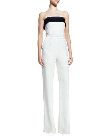 Bicolor Strapless Wide-Leg Jumpsuit, Black/White