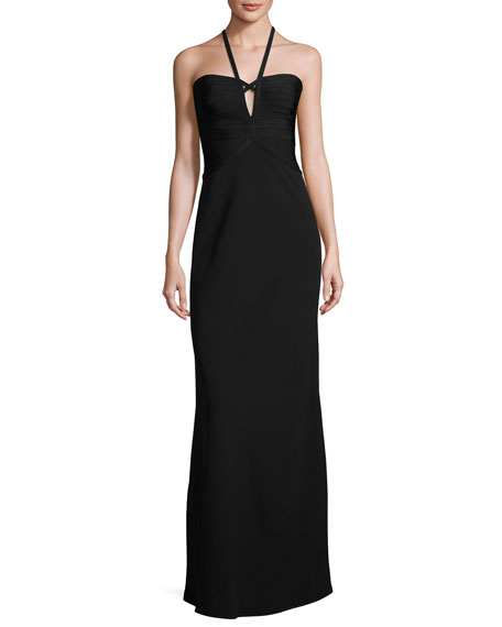 Strappy Halter Bandage Gown, Black