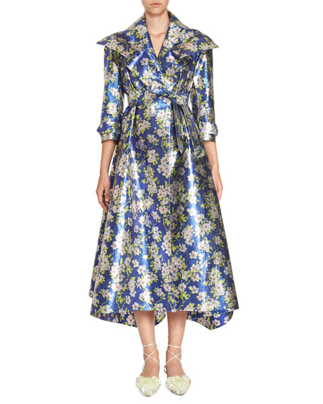 Delpozo Floral Gabardine Coat Dress, Blue