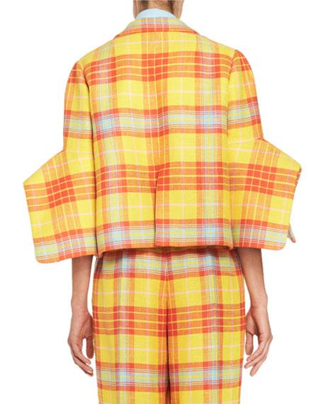 Plaid Oversized Cropped Jacket, Yellow/Orange Buy
