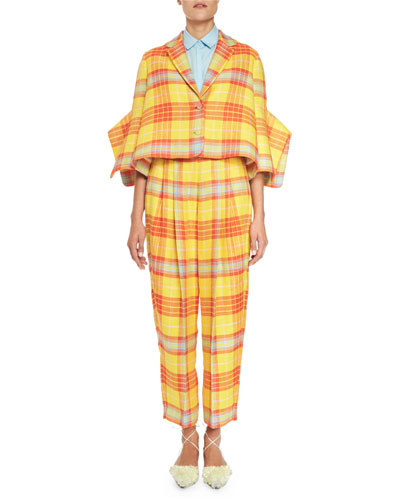 Plaid Oversized Cropped Jacket, Yellow/Orange