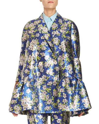 Floral Jacquard Peplum Jacket, Blue Reviews
