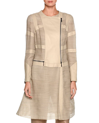 Striped Leather Asymmetric-Zip Jacket, Ivory