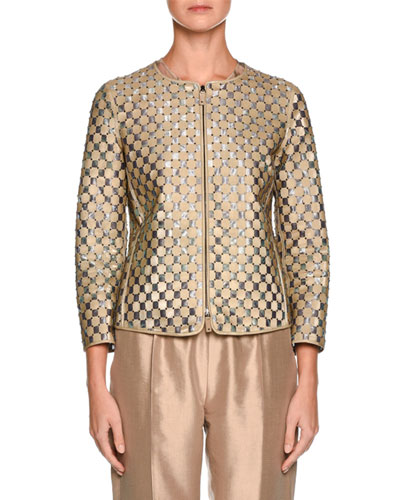 Perforated Leather Bracelet-Sleeve Jacket, Beige