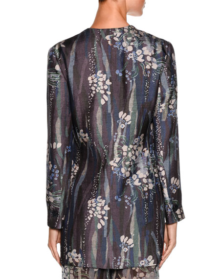 Floral One-Button Silk Jacket, Multi Compare Price