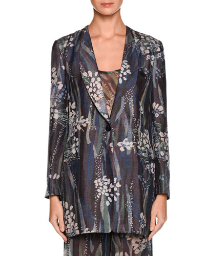 Floral One-Button Silk Jacket, Multi
