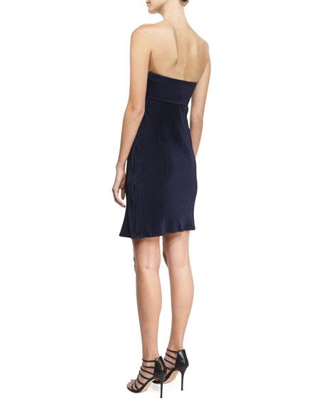 Strapless Plisse Jersey Dress