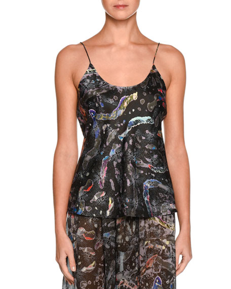 Floral Scoop-Neck Silk Camisole, Charcoal/Multi