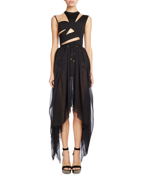 Drawstring Silk Asymmetric-Hem Skirt, Black