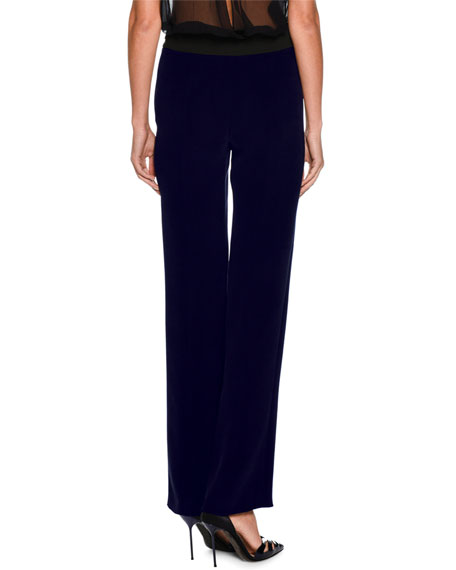 Straight-Leg Silk Pants, Dark Navy