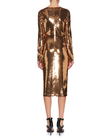 Sequined Long-Sleeve Scoop-Neck Dress