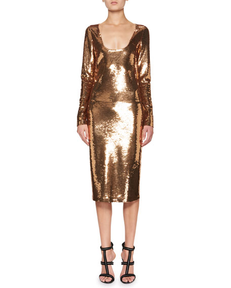Sequined Long-Sleeve Scoop-Neck Dress