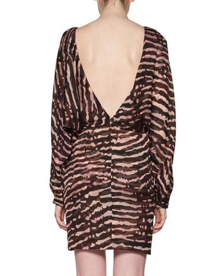Animal-Print V-Back Blouson Dress, Multi