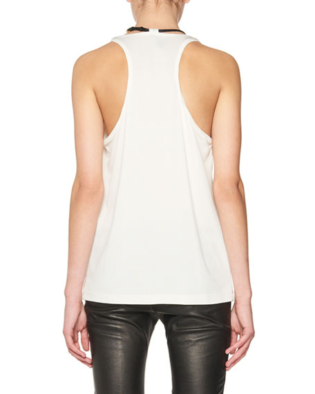Scoop-Neck Tank with Leather Padlock