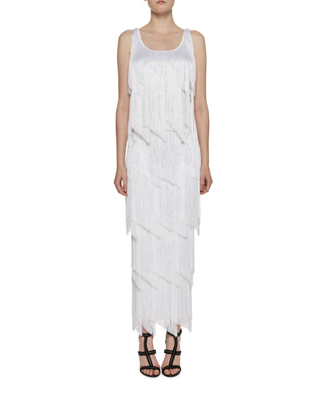 Tiered-Fringe Maxi Skirt, White