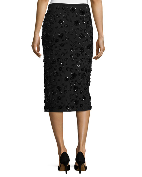 Sequined-Floral Front-Slit Pencil Skirt, Black