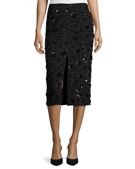 Michael Kors Collection Sequined-Floral Front-Slit Pencil Skirt,