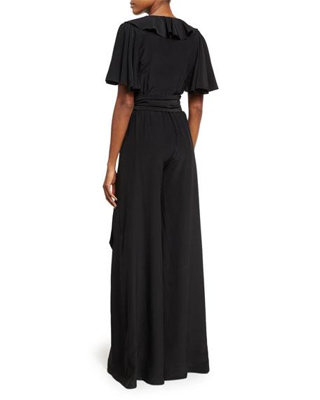 V-Neck Ruffled Silk Jumpsuit, Black