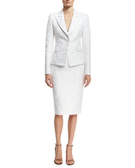 Michael Kors Collection Floral Jacquard Pencil Skirt, White