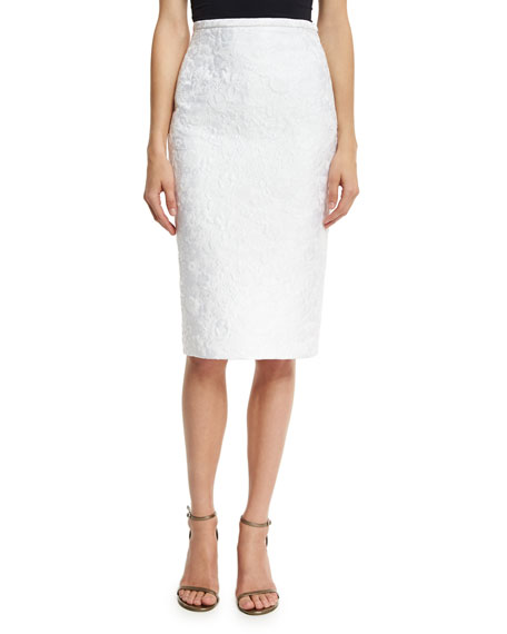 Michael Kors Collection Floral Jacquard Pencil Skirt, White