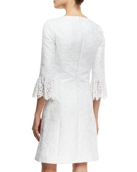 Lace-Cuff Jacquard Shift Dress, White
