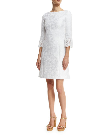 Michael Kors Collection Lace-Cuff Jacquard Shift Dress, White