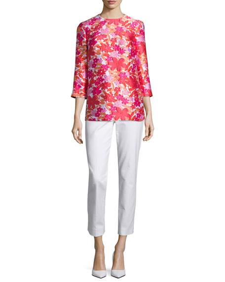 Floral Jacquard 3/4-Sleeve Tunic, Pink/Multi
