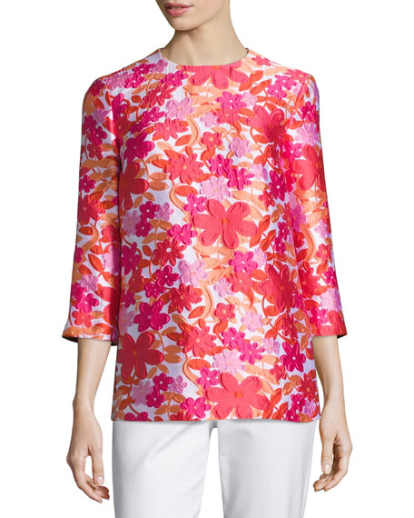 Michael Kors Collection Floral Jacquard 3/4-Sleeve Tunic,