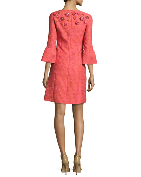 Jeweled Bell-Sleeve Tweed Dress, Pink/Multi