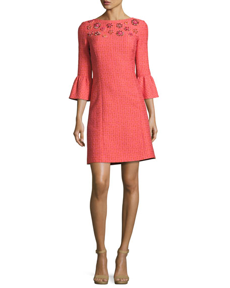 Michael Kors Collection Jeweled Bell-Sleeve Tweed Dress,