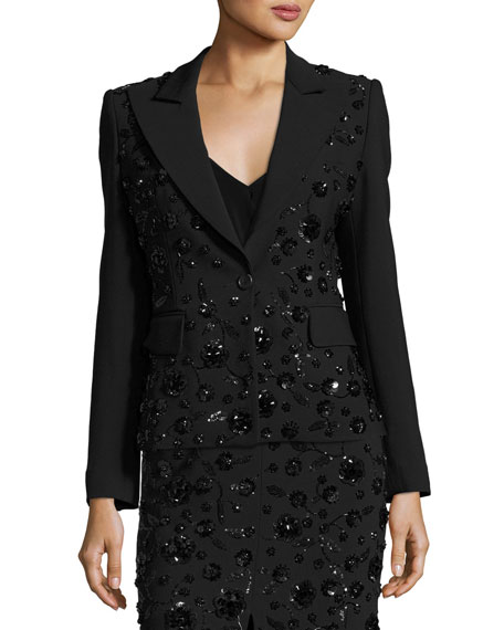 Michael Kors Collection Sequined-Floral Dinner Jacket, Black