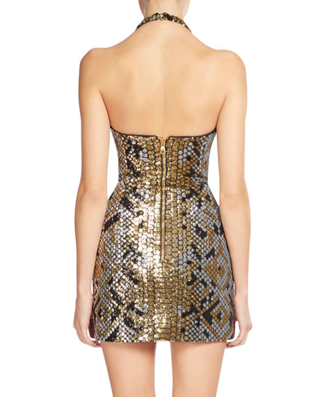 Sequined Snake-Pattern Mini Dress, Black/Gold