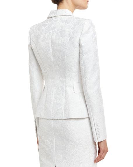 Floral Jacquard Structured Blazer, White