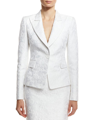 Floral Jacquard Structured Blazer, White