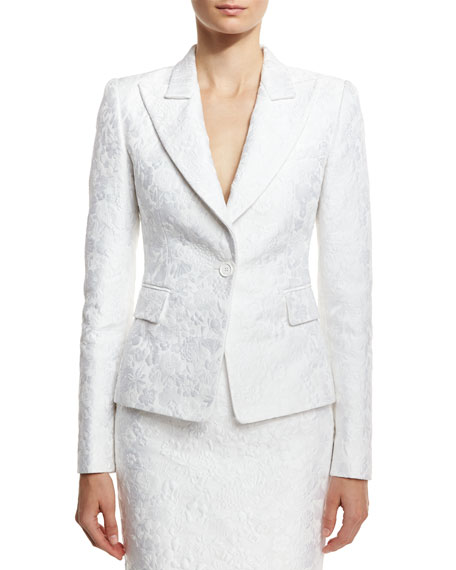 Michael Kors Collection Floral Jacquard Structured Blazer, White