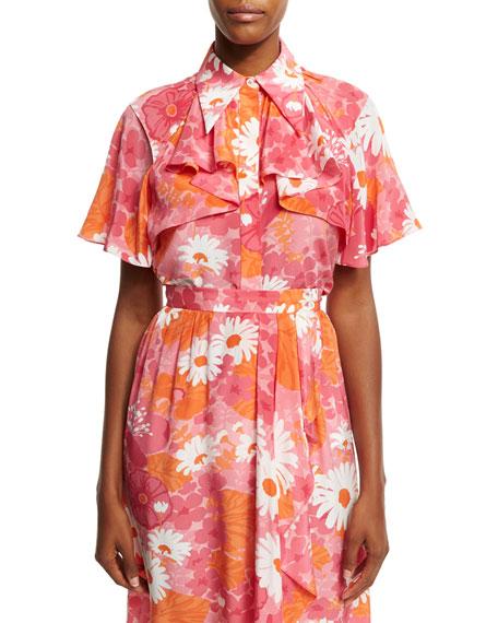 Daisy-Print Draped Silk Blouse, Pink